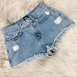 BDG High Rise Cheeky Distressed Denim Blue Shorts